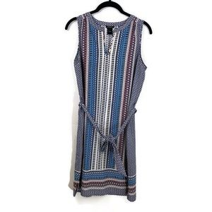 Ann Taylor Belted Aztec Shift Dress Small